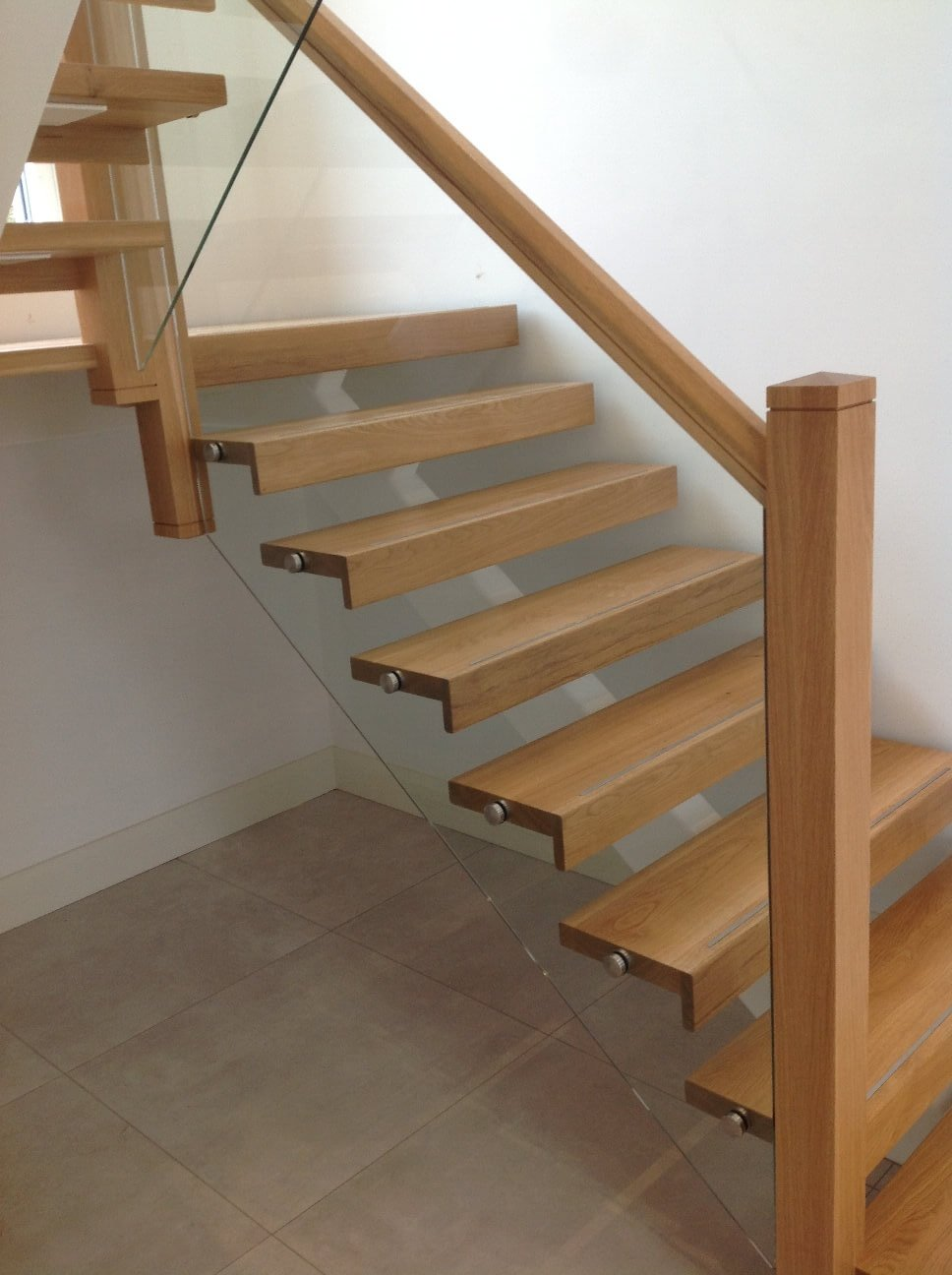 White Steel Spine Stairs Galway Ireland Inset Glass