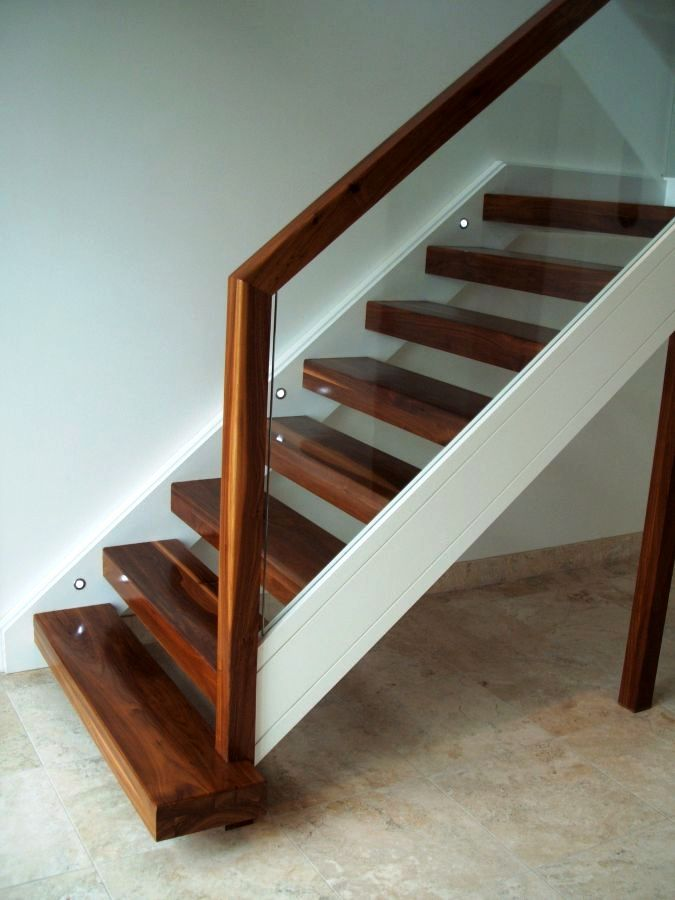 walnut stairs with open rise